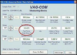 Sensor de la temperatura del gasoil con vagcom