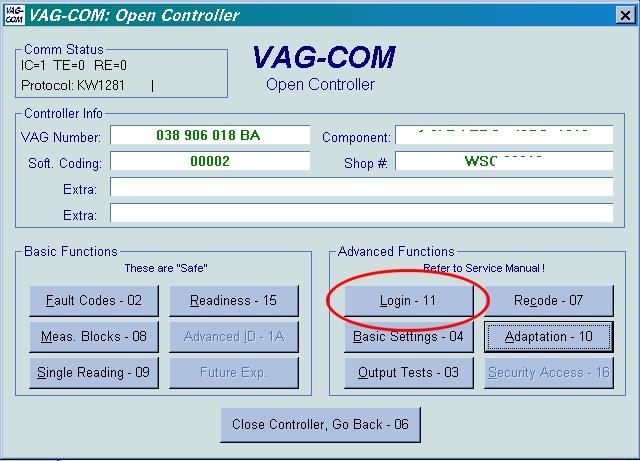 Activar control de velocidad con vagcom.